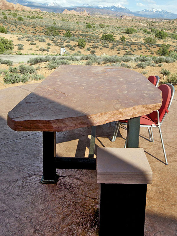Sandstone Table and Stool
